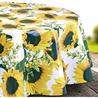 Yellow Sunflower Wipe Clean Tablecloth Easy Clean Oilcloth Vinyl Pvc Tablecloth  Round 140cm