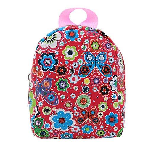Naisicatar 18 Zoll Puppenzubehör Nette Minitaschen-Rucksack-Schul Für 18 Zoll American Girl Dolls (Red Schmetterlingsblument) Party-Geschenke