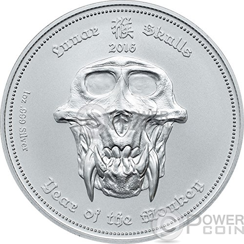 Power Coin LUNAR Skulls Monkey Chinese Year 1 Oz BU Silber Münze 5$ Palau 2016 -