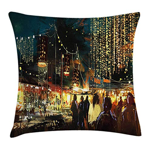 KAKICSA Night Throw Pillow Cushion Cover, Painting of Shopping Street City with Colorful Nightlife Abstract Brushstrokes Art, Decorative Square Accent Pillow Case, 18 X 18 inches, Multicolor