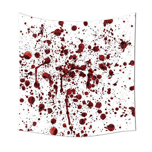 Spritzern von Blut im Grunge-Style Bloodstain Horror Scary Zombie Halloween themed Print Schlafzimmer Wohnzimmer Wohnheim Decor Rot Weiß, mehrfarbig, 51.18 x 51.18 Inch ()