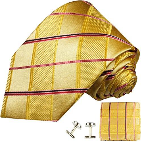 Cravate homme or rouge rayée ensemble de cravate 3 Pièces ( longueur 165cm )