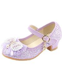Yy.f YYF Fille Ballerine Chaussures à Talon à Déguisement Princesse avec  Nœud Papillon Paillettes b033892dd3de