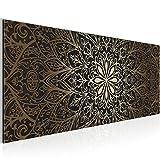 Bilder Mandala Abstrakt Wandbild 100 x 40 cm Vlies - Leinwand Bild XXL Format Wandbilder Wohnzimmer Wohnung Deko Kunstdrucke Braun 1 Teilig -100% MADE IN GERMANY - Fertig zum Aufhängen 107412a