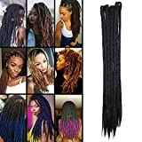 TESS 20' Braids Extensions Schwarz Kunsthaar Braiding Hair Crochet Synthetik Haar 5Pcs 35g/Bündel...