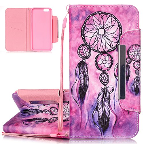 "Coque pour iPhone 6 Plus 5.5"", Etui pour iPhone 6S Plus 5.5"", ISAKEN Peinture Style PU Cuir Flip Magnétique Portefeuille Etui Housse de Protection Coque Étui Case Cover avec Portable Dragonne Stand Su Dream Catcher"