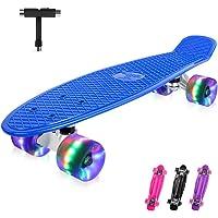 BELEEV Skateboard 22 inch Completo Mini Cruiser Retro Skateboard per Bambini, Giovani e Adulti, PU LED Ruote con all-in-One Skate T-Tool per Principiante