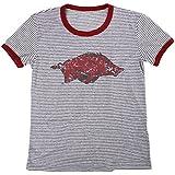 Blue 84 NCAA Arkansas Razorbacks Women's Tri-Blend Retro Stripe Ringer Shirt, X-Large, Cardinal