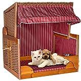 foolonli Strandkorb Hunde Tier-Bett mit Wasser-Napf PE Rattan Maritim Korb Garten Haus Burgund