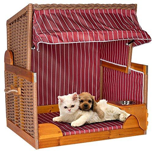 Strandkorb Hunde Tier-Bett mit Wasser-Napf PE Rattan Maritim Korb Garten Haus Burgund (Haus Nadelstreifen)