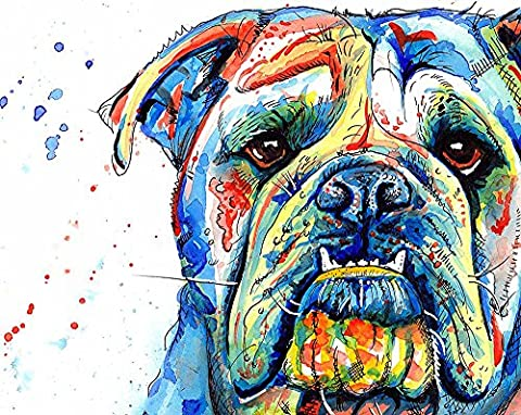 British Bulldog Art Print Painting, Artwork Prints Gifts - [A4 Print Only, 8 x 12