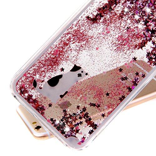 ISAKEN iPhone 5S Hülle,iPhone 5 Hülle,iPhone 5S Case,Hard Hülle für iPhone 5S 5,Kreativ Design Liquid Fließen Flüssig Schwimmend Stern Bling Luxus Shiny Glanz Sparkle Kristall Glitzer Crystal Clear Ha Rosa Cherry Kirschblüte Weiß Katze