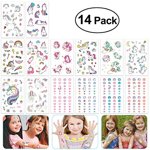 YEAHIBABY 10 Blätter Einhorn Temporäre Tattoos mit 4 Blätter Einhorn Nagel Aufkleber für Kinder Einhorn Party ()