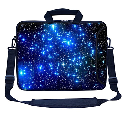 Meffort Inc 17 17.3 inch Neoprene Laptop Bag Sleeve with Extra Side Pocket, Soft Carrying Handle & Removable Shoulder Strap for 16