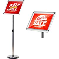 HUAZI A3 Sign Holder Floor Poster Stand Vertical & Horizontal View Displayed,Snap-Open Frame with Round Corner,Silver