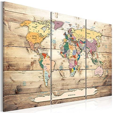 murando - Weltkarte Pinnwand & Leinwand Bild 90x60cm - 1 Teilig - Wandbilder als Korktafel-Korkwand nutzbar - Leinwandbilder - Wandbilder XXL - Kontinent Landkarte Karte Lernkarte Reise bunt