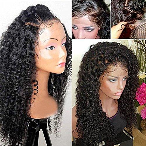 Rich choices - parrucca da donna riccia realizzata con capelli umani brasiliani remy al 100%, parrucca ondulata con ricci naturali di colore nero