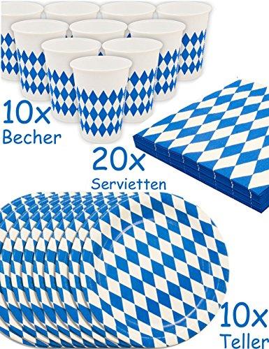 HOMETOOLS.EU® - Oktoberfest Party Geschirr Set | Bayern Bier-Party | Papp-Teller, Servietten, Becher | Bayrische Raute, blau-weiss, 40-Teilig
