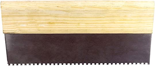 Elleycon Stainless Steel S.S. Notched Trowel, 2 mm thickness, 30 cm x 15 cm, Brown & Beige
