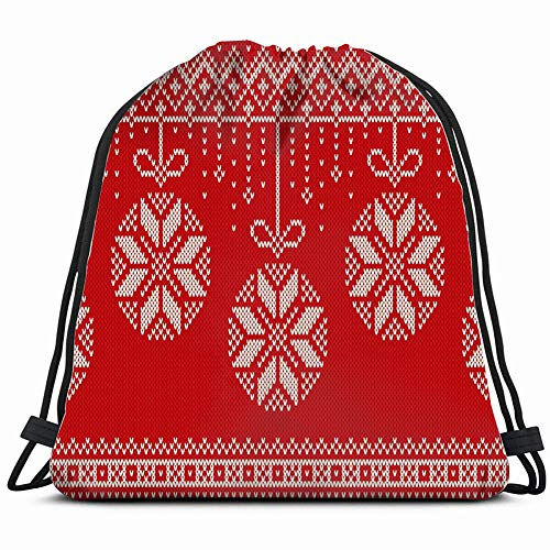 fjfjfdjk Winter Holiday Knitting Christmas Drawstring Backpack Gym Sack Lightweight Bag Water Resistant Gym Backpack for Women&Men for Sports,Travelling,Hiking,Camping,Shopping Yoga -