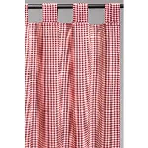 vorhang schlaufenschal rot wei kariert 140cm x 250cm k che haushalt. Black Bedroom Furniture Sets. Home Design Ideas