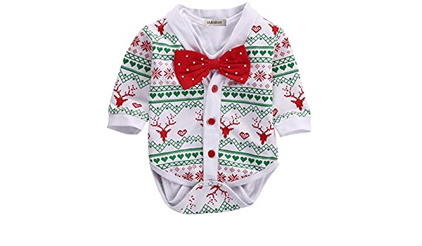 8b21bc2b148d StylesILove Infant Baby Boy Jumpsuit with Red Bowtie and Holiday ...