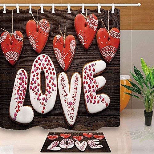 AdaCrazy Valentinstag Duschvorhang Hängen Herzförmige Liebe Kreative Romantik Drucken 71X71in...