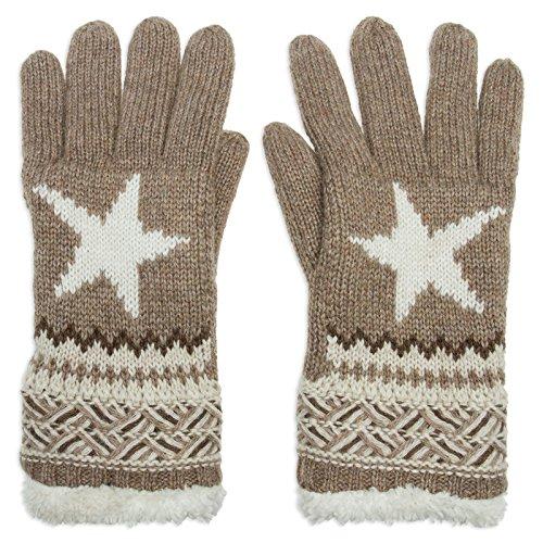 CASPAR GLV004 warm gefütterte Damen Strick Handschuhe mit Stern, Farbe:taupe;Größe:One Size