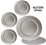 1 Stück _ großer Teller -  Silber - Glitzer & Glanz  - Ø 33 cm - Unterteller / Platzteller / Plätzchenteller - Keksteller - grau / edel - festlich gedeckte .. - 4