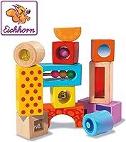 Eichhorn 100002240 - Klangbausteine, Bausteine mit verschiedenen Sounds, 12-tlg, Birkenholz bunt bedruckt