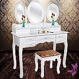 Kesser® Schminktisch Kosmetiktisch Frisierkommode ✓ Spiegel ✓ Schubladen ✓ Hocker   Schminkspiegel   Stylingstation   Farbe: Weiß   Modell: KE-ST-GR