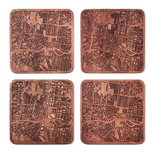 City Map Untersetzer, jede Kombination von mehreren City optional, Sapeli Holz Untersetzer mit City Map Melbourne braun