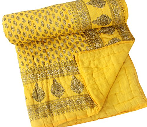 Jaipur Textile Hub Single Floral Cotton Jaipuri Quilt/Razai- Yellow(Size:60*90 inch Approx) ANQ-35