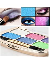 LHWY 6 Colors Shimmer Eyeshadow Eye Shadow Palette & Makeup Cosmetic Brush Set for Women Girls Ladies
