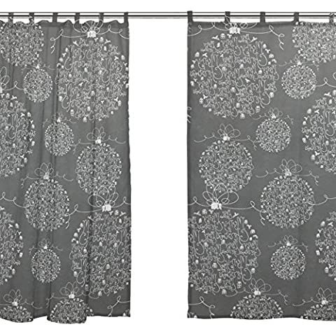 jstel 2Pcs Voile Fenster Vorhang, Vintage Christmas Light, Tüll Sheer Vorhang Tuch Querbehang 139,7x 198,1cm Zwei scheibenelementen Set