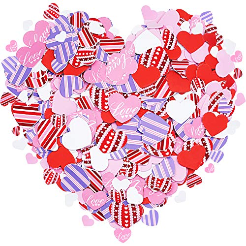 Tatuo 600 Stück Schaum Herz Schaum Klebstoff Herz Aufkleber Valentinstag Schaum Herz Aufkleber für Kunsthandwerk, Grußkarten, Sammelalbum Dekoration (Schaum Rote Herz Aufkleber)