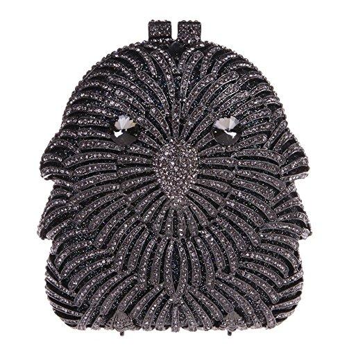Santimon Donna Pochette Borsa Gufo Diamante Cristallo Borsellini Borse Da Festa di Nozze Sera Con Tracolla Amovibile 3 Colori nero
