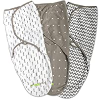 Swaddle Wrap Blanket for Babies - 3 Pack, Unisex, Universal Fit - Ziggy Baby Adjustable Infant Baby Newborn Wrap Set for Boys, Girls Soft 100% Cotton in Grey