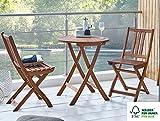SAM Balkon- Gartentisch 60 cm Blossom Round, Holz-Tisch aus Akazie massiv & geölt, FSC® 100%, runder Klapptisch