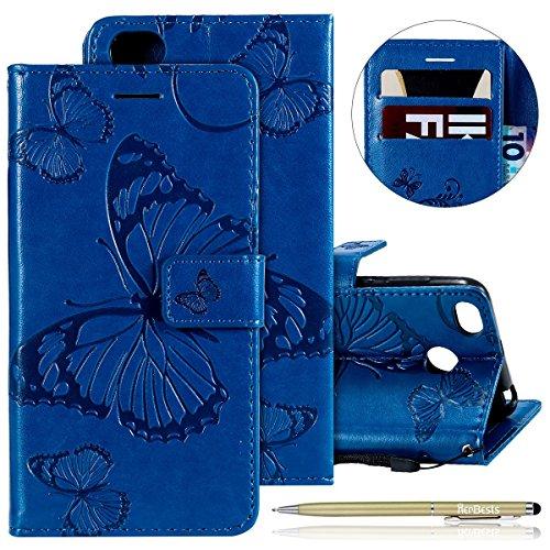 Kompatibel mit Leder Handy Schutzhülle Xiaomi Redmi 4X Lederhülle Schmetterling Muster Leder Handyhülle Handytasche Brieftasche Ledertasche Bookstyle Flip Case Cover Klapphülle,Blau