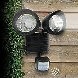 GEZICHTA Solarbetriebene Bewegungsmelder-Lichter, 22 superhelle LEDs, Doppel-Sicherheits-Bewegungsmelder, Solar-Spot-Licht, Bewegungsmelder, Garten-Licht etc, Schwarz, Free Size