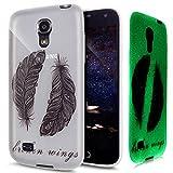 Kompatibel mit Galaxy S4 Mini Hülle Schutzhülle,[Leuchtende Transluzent] Transparent TPU Silikon Hülle Case Tasche Silikon Case Durchsichtig Schutzhülle für Galaxy S4 Mini,Schwarze Feder