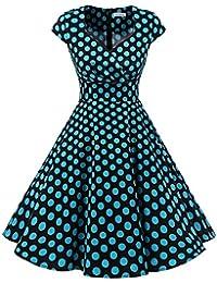 Bbonlinedress Vestido Corto Mujer Retro Años 50 Vintage Escote En Pico