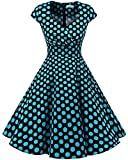 bbonlinedress Women's Vintage 1950s cap Sleeve Rockabilly Cocktail Dress Multi-Colored Black Blue BDot M