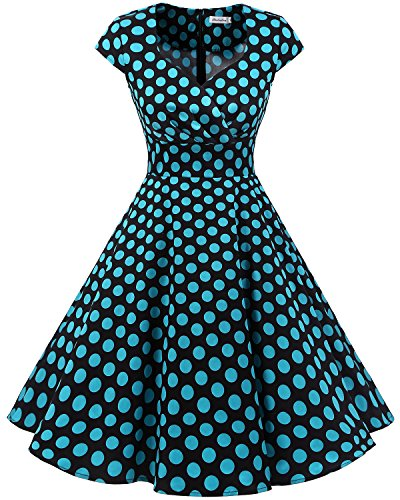 bbonlinedress 1950er Vintage Retro Cocktailkleid Rockabilly V-Ausschnitt Faltenrock Black Blue BDot XS Black Floral Dress
