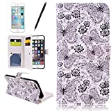 "Wallet Cover 2 in 1 Phone Case for iPhone 6 Plus 6S Plus (5.5"") HB-Int Stand Function PU Leather Holster Flip Book Style Cards Photo Slots Multifunction Protector Elegant Butterfly Metal Button Closure Soft Silicone Back Shell + Stylus Pen + Screen Protector"
