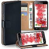 moex Samsung Galaxy J3 (2016) | Hülle Schwarz mit Karten-Fach 360° Book Klapp-Hülle Handytasche Kunst-Leder Handyhülle für Samsung Galaxy J3 2016 Case Flip Cover Schutzhülle Tasche