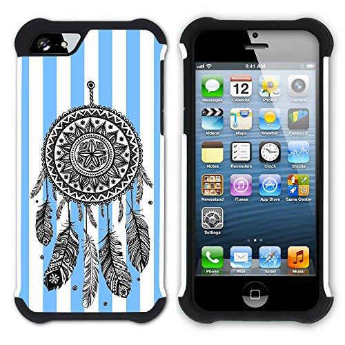 Graphic4You Traumfänger Streifenmuster (Wasserblau) Hart + Weiche Kratzfeste Hülle Case Schale Tasche Schutzhülle für Apple iPhone SE / 5 / 5S Schwarz
