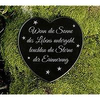 Gedenkstein Herz Grabschmuck Marmor Sterne Gravur