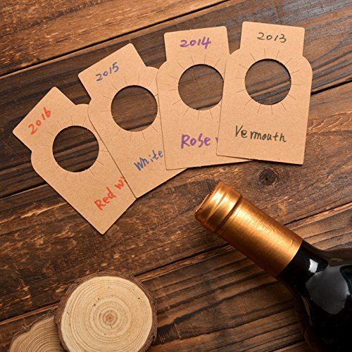 Étiquettes de bouteille de vin de papier de Kraft - étiquettes de cellier de papier de papier de 200 pleines de compte